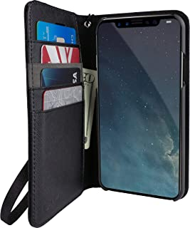 Smartish iPhone XR Wallet Case - Keeper of The Things - Folio Wallet Synthetic Leather Portfolio Flip Credit Card Cover with Kickstand (Silk) - Black Tie Affair