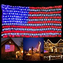 KiflyTooin American Flag Lights with 420 Super Bright LEDs, Waterproof Led Flag Net Light of The United States for Yard,Garden Decoration, Festival, Holiday, Party Decoration,Christmas Decorations