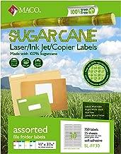 MACO Sugarcane Laser/Ink Jet/Copier Assorted Color File Folder Labels, 2/3 x 3-7/16 Inches, 30 Per Sheet, 750 Per Pack (SL-FF30)
