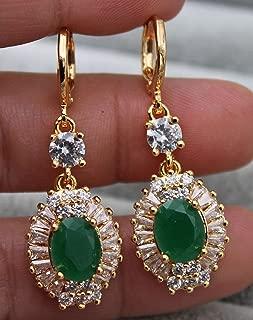 Phonphisai shop 18K Yellow Gold Filled - 1.6'' Oval Flower Emerald Jade Topaz Lady Gems Earrings