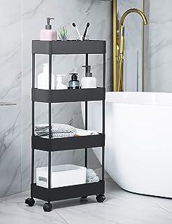 BASSTOP Chariot de rangement à 4 étages - Pour cuisine, salle de bain, buanderie - Noir
