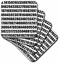 3dRose CST_164992_1 Pi Math Number Mathematical Black and White Mathematic Numeric Figures Soft Coasters, Set of 4