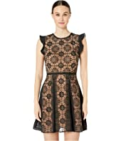 ML Monique Lhuillier - Short Dress with Floral Calyps on Half Bodice and Skirt