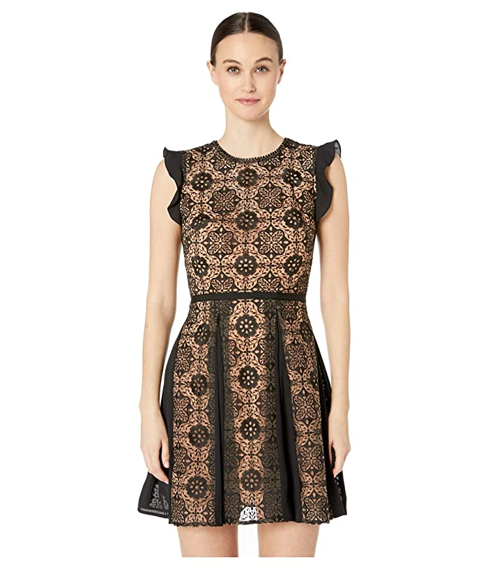 ML Monique Lhuillier Short Dress with Floral Calyps on Half Bodice and Skirt (Jet) Women