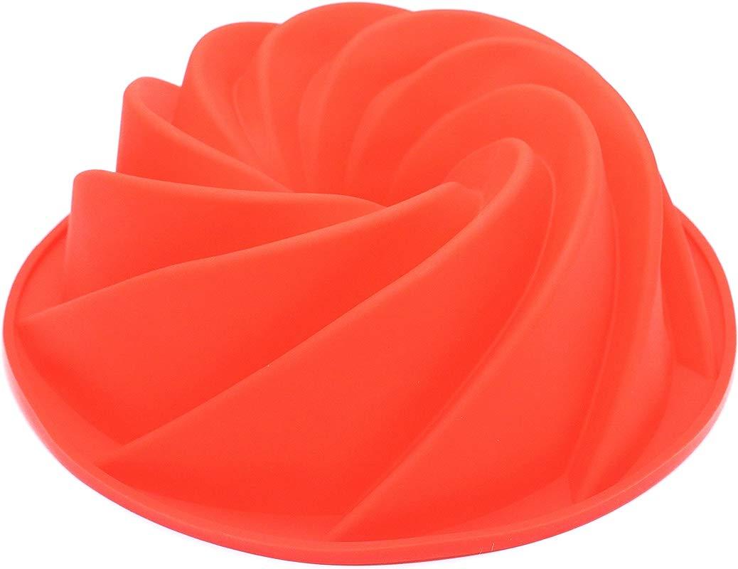 Silicone Fluted Bundt Pan Cake Mold BPA Free Non Stick European Grade Silicone Red