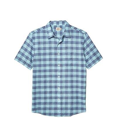 Faherty Short Sleeve Cloud Blend Shirt (Mint Buffalo) Men