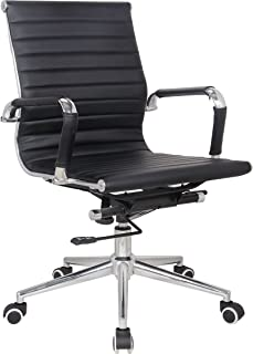 Classic Replica mid Back Office Chair - stabilizing Swivel bar and Knee tilt with tensioner knob (Black)