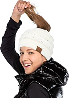 C.C Exclusive Messy Bun Ponytail Sequin Beanie Hat (MB-730)