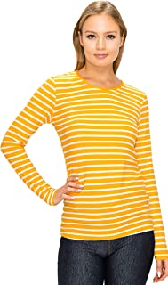 ALWAYS Women Long Sleeves Top - Solid Basic Buttery Super Soft Stretch V-Neck Shirt