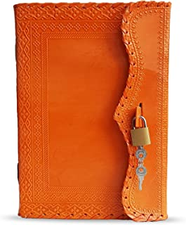 "10"" Leather Journal with lock Writing Pad Blank Notebook Handmade Notepad Men & Women Unlined Paper Best Present Art Sketc..."
