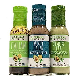 Primal Kitchen Dressing & Marinade, Made w/ Avocado Oil (Dreamy Italian, Italian Vinaigrette,Cilantro Lime) Paleo, Soy Fre...