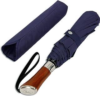 Balios (Designed in UK Travel Umbrella | Luxurious Golden Rosewood Handle | Auto Open & Close | Windproof Frame | Single Canopy | Automatic Folding Umbrella | Men's & Ladies