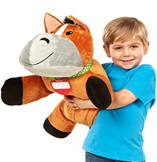 Melissa & Doug Cuddle Horse Jumbo Plush Stuffed Animal (Pillow Toy, Reusable Activity Card, Nametag, Over 2 Feet Long)