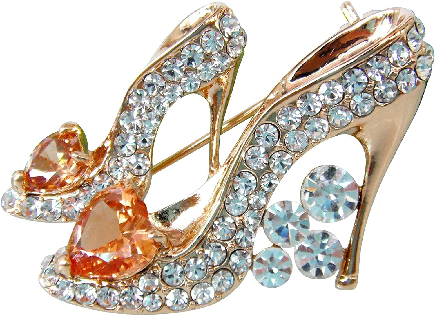 Navachi 18k Gold Plated Cubic Zicon Austrian Crystal Shoes Brooch Pin