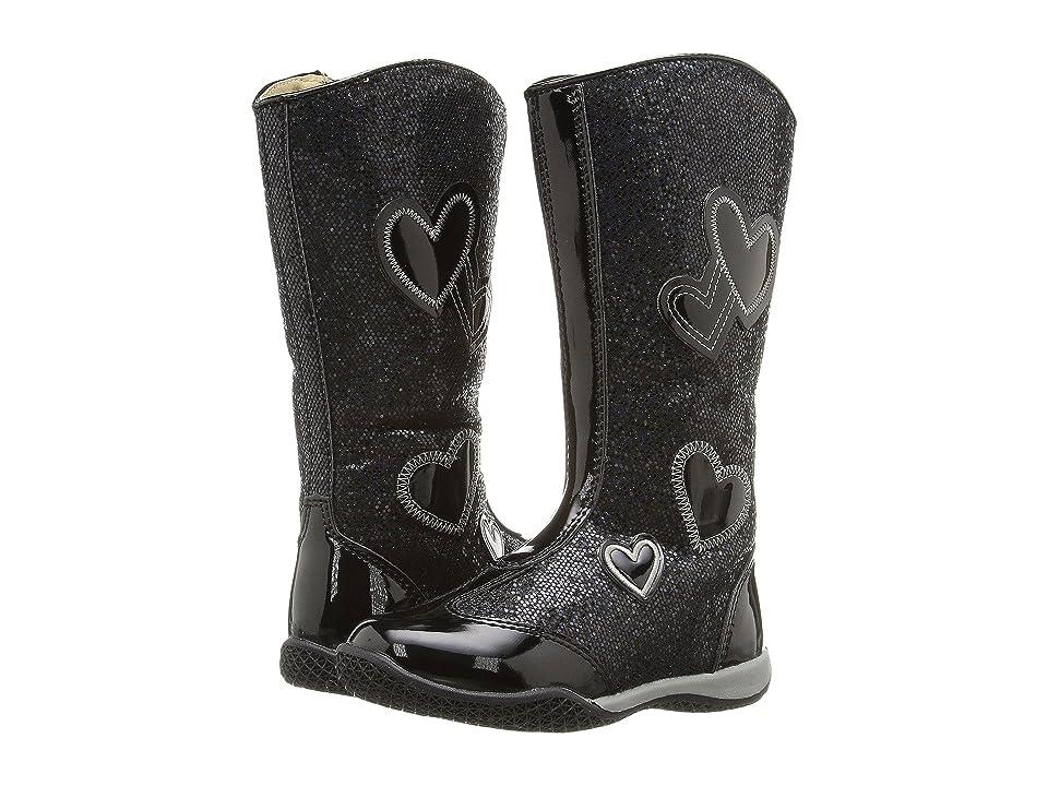 W6YZ Patsy 2 (Toddler/Little Kid) (Black Glitter) Girls Shoes