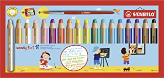 Multi-talented Pencil STABILO woody 3-in-1 box set of 18 assorted colours + sharpener & paint brush