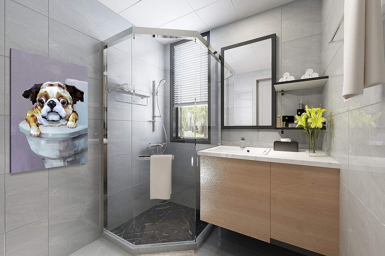 Amazon.de Yihui Arts Leinwandbild für Badezimmer, lustiger Hund ...