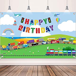 Transportation Birthday Party Supplies Decorations Traffic Backdrop Background Banner for Boys Girls Birthday Party Favor ...
