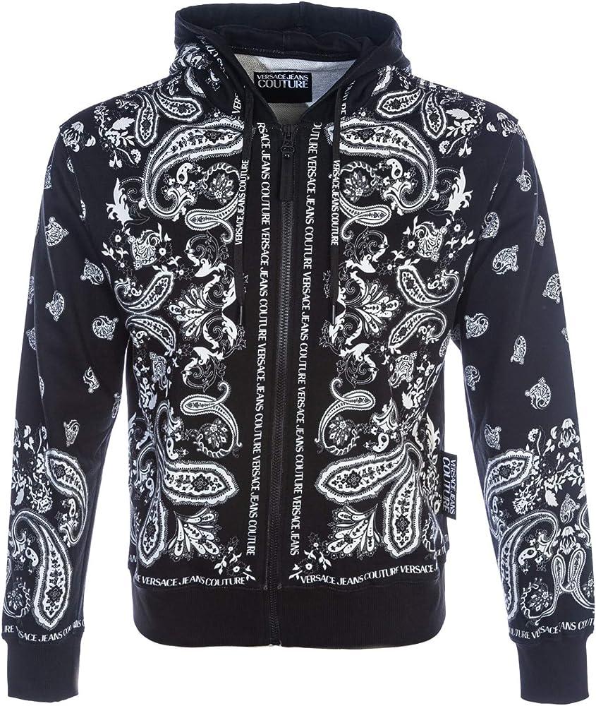 Versace jeans couture, felpa con cappuccio, motivo cachemire, 100 % cotone,taglia m XMS3524