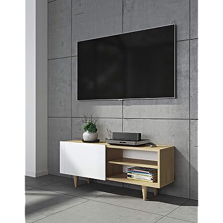 TemaHome Table Cruz TV Table, chêne placage, Blanc Mat, 120 x 34 x 50 cm