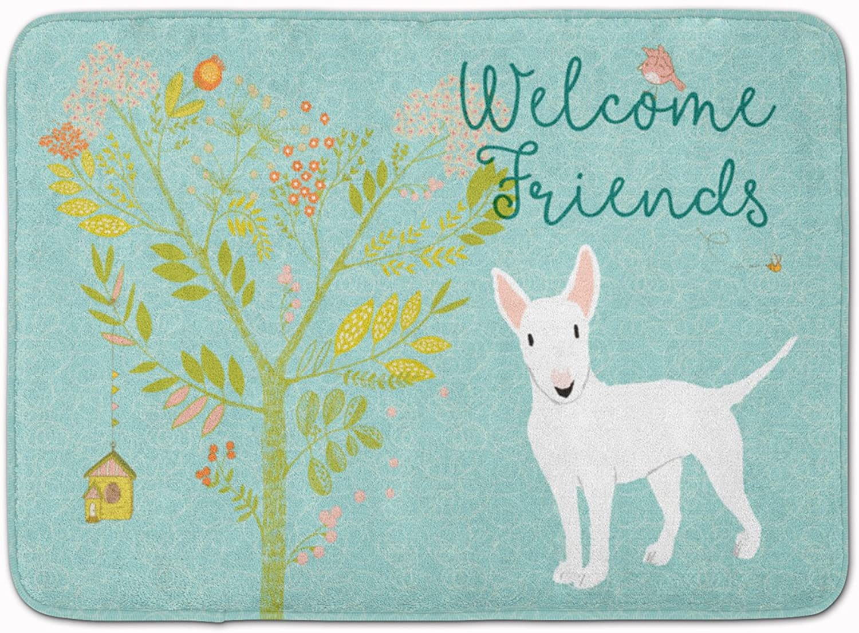 Caroline's Treasures Welcome Friends White Bull Terrier Floor Mat, 19hx27w, Multicolor