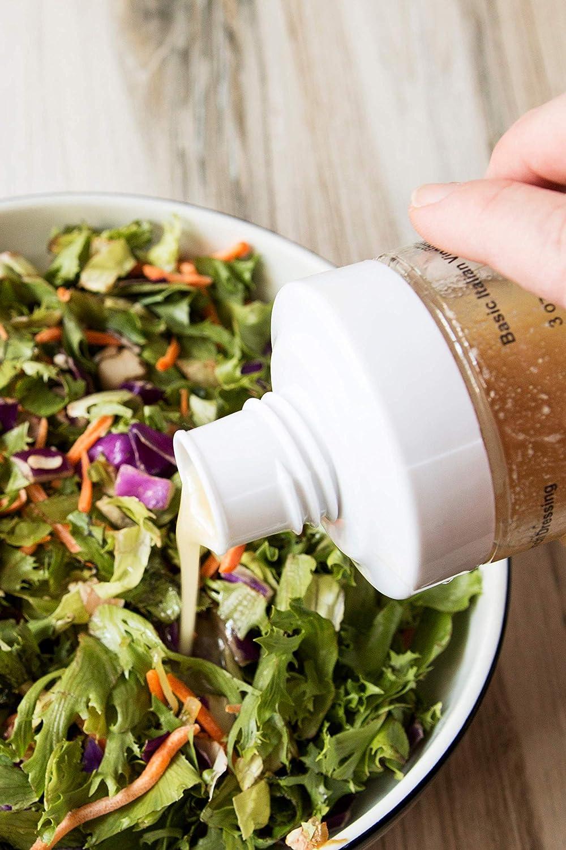 Salad Dressing Shaker Premium Borosilicate Glass Bottle with Mixer Insert /• Leak Proof Salad Dressing Blender and Dispenser with Measurements and Recipes /• Reusable Vinaigrette Cruet