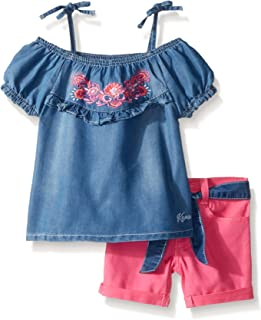 kensie - Juego de Playera y Pantalones Cortos para niña