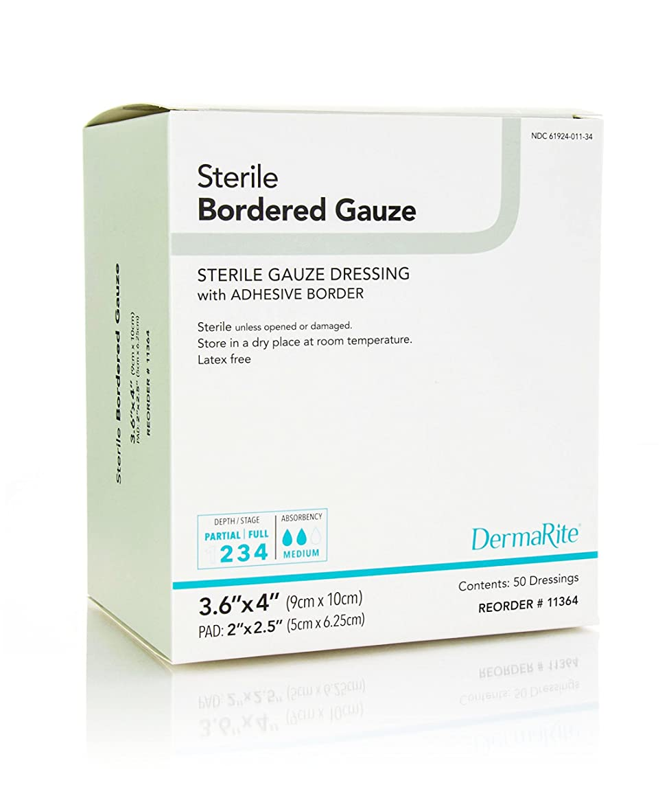 Dermarite Industries Sterile Bordered Dressing with Adhesive Border, 50 Count