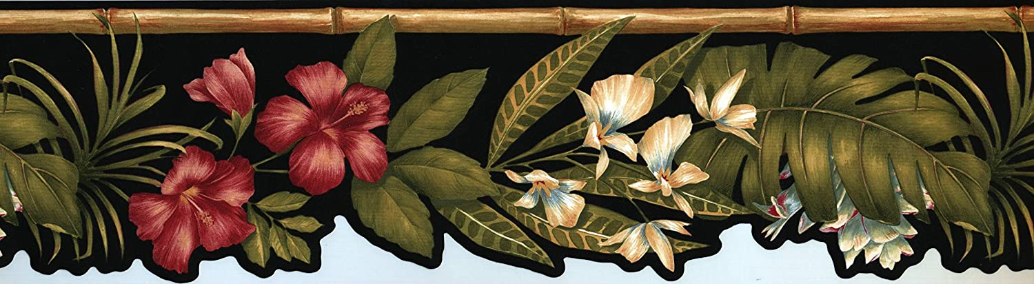 Concord Max 62% OFF Wallcoverings Tropical Flowers Border Black Wallpaper Quality inspection R
