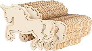 24-Pack Unfinished Wood Unicorn Cutout - 4 x 2.5-Inch Shaped Wood Pieces for Kids DIY Craft, Princess Party Decoration