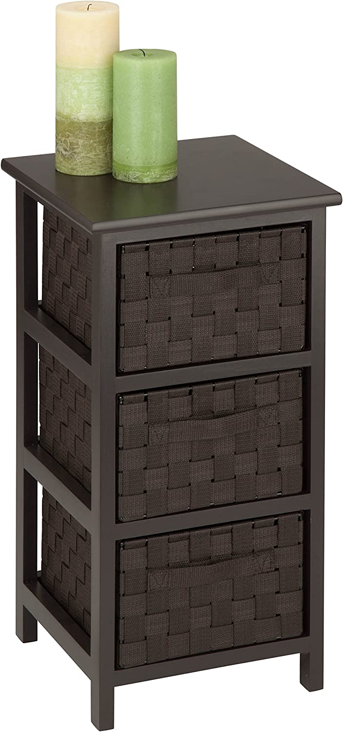 Honey-Can-Do OFC-03716 3-Drawer Natural Wood Frame Storage Organizer Chest, 12.01 by 24.80-Inch, Espresso Brown