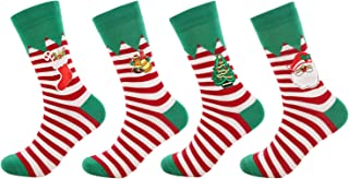 Men's Dress Crew Socks Christmas Unisex Knit Cotton Classic Assorted Socks