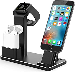Compatible with Apple Watch Charger Stand Charging Dock Station iWatch Charging Stand for AirPods, iWatch Series 4/3/2/1,iPhone Xs/X Max/XR/X/8/8Plus/7/7 Plus /6S /6S Plus/iPad (Black)