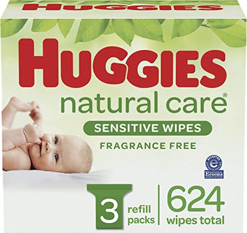 Baby Wipes, Huggies Natural Care Sensitive Baby Diaper Wipes, Unscented, Hypoallergenic, 3 Refill Packs (624 Wipes To...