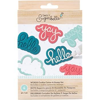 Sweet Sugarbelle 4 Piece Stamp and Cutter Set Words Cookie Supplies
