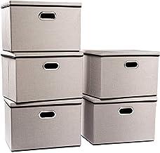 Prandom Large Foldable Storage Bins with Lids [5-Pack] linenFabric Decorative Storage Boxes Organizer Containers Baskets C...