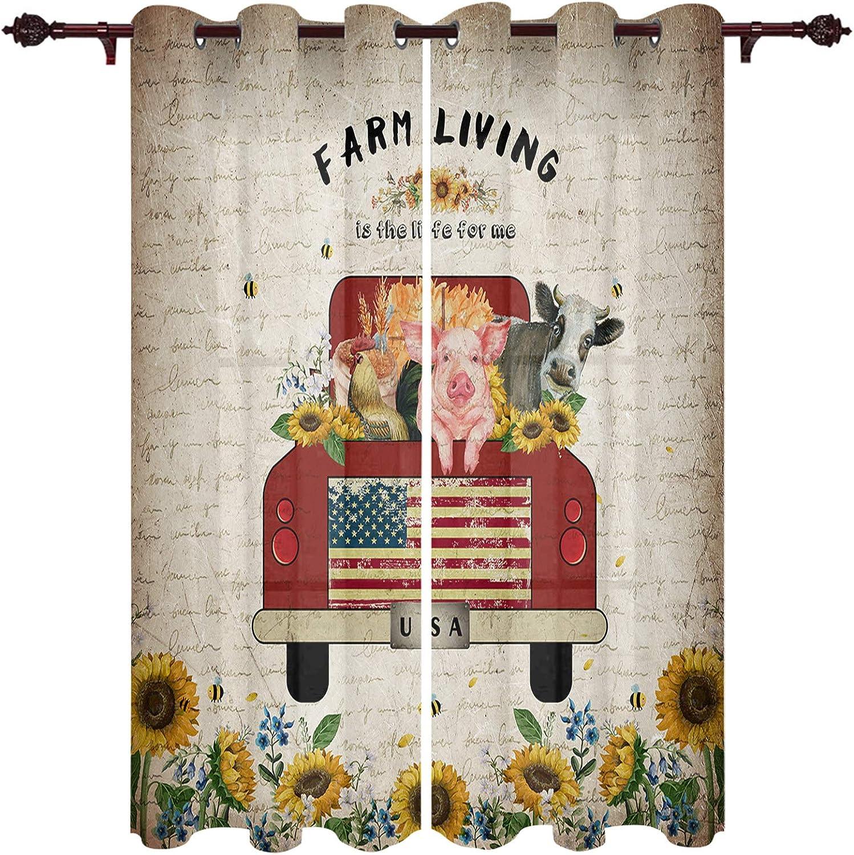 Farm Window Treatment Panels Set of Metal 今ダケ送料無料 2 Dr Grommet Curtains お見舞い