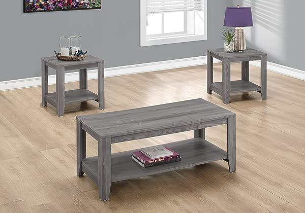 Monarch Specialties I 7991P SET 3PCS Table Set Grey