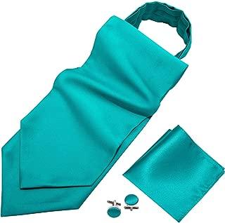 Barry.Wang Men Self Paisley Cravat Tie Set with Pocket Square Cufflink Flower Silk Ascot Casual Necktie