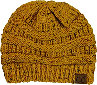 C.C Unisex Colorful Confetti Soft Stretch Cable Knit Beanie Skull Cap - Mustard