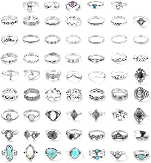 61PCS Knuckle Ring Set for Women Opal Turquoise Joint Stackable Midi Finger Ring Bohemian Retro Vintage Jewelry