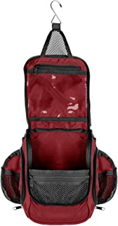 Compact Hanging Toiletry Bag & Organizer   Water Resistant, Mesh Pockets, Sturdy Hook Red