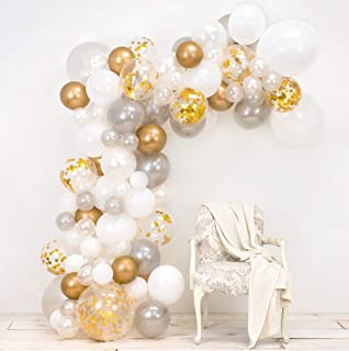 Junibel Balloon Arch & Garland Kit | Pearl White, Chrome Gold Confetti & Silver | Glue Dots | Decorating Strip | Holiday, Wedding, Baby Shower, Graduation, Anniversary Organic DIY Party Decorations