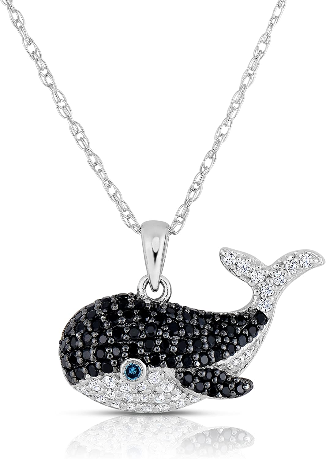 NATALIA OFFicial store DRAKE 1 2 Cttw White Black and Diamond Neckla Credence Whale Blue