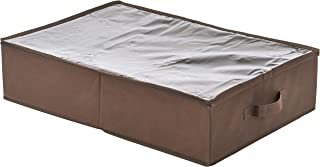 Amazon Brand - Solimo 1 Piece Fabric Under Bed Organiser, Brown