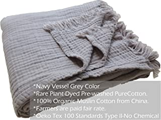 Pre-Washed 100% Organic Cotton Muslin Throw Blanket for Adult Kids Sofa Couch, Plant Dyed Yarn, Breathable Super Soft Cotton, Cozy, Warm, Lightweight Bedding Throw Blanket, All Season (55