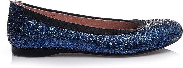 Girl Boss New York Women's 100% Handmade Navy Glitter Flat