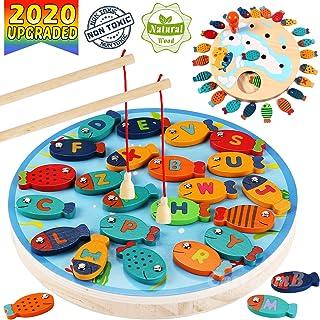 بازی CozyBomB Magnetic Wooden Fishing بازی اسباب بازی برای کودکان نوپا - الفبای ماهی گرفتن شمارش اسباب بازی های دبستانی بازی های اسباب بازی برای 2 3 4 ساله دختران پسر بچه ها تولدت مبارک آموزش ریاضی با لهستانی های آهن ربا