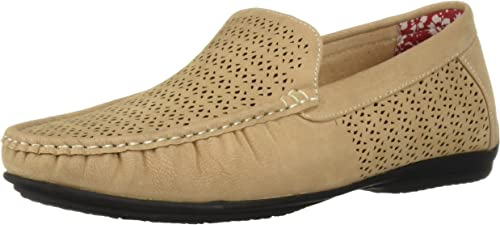 STACY ADAMS Men's Cicero Perfed MOC Toe Slip-ON Driving Style Loafer, Taupe, 11 M US