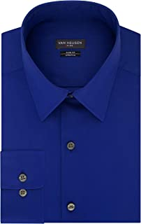 Men's Dress Shirt Slim Fit Flex Collar Stretch Solid